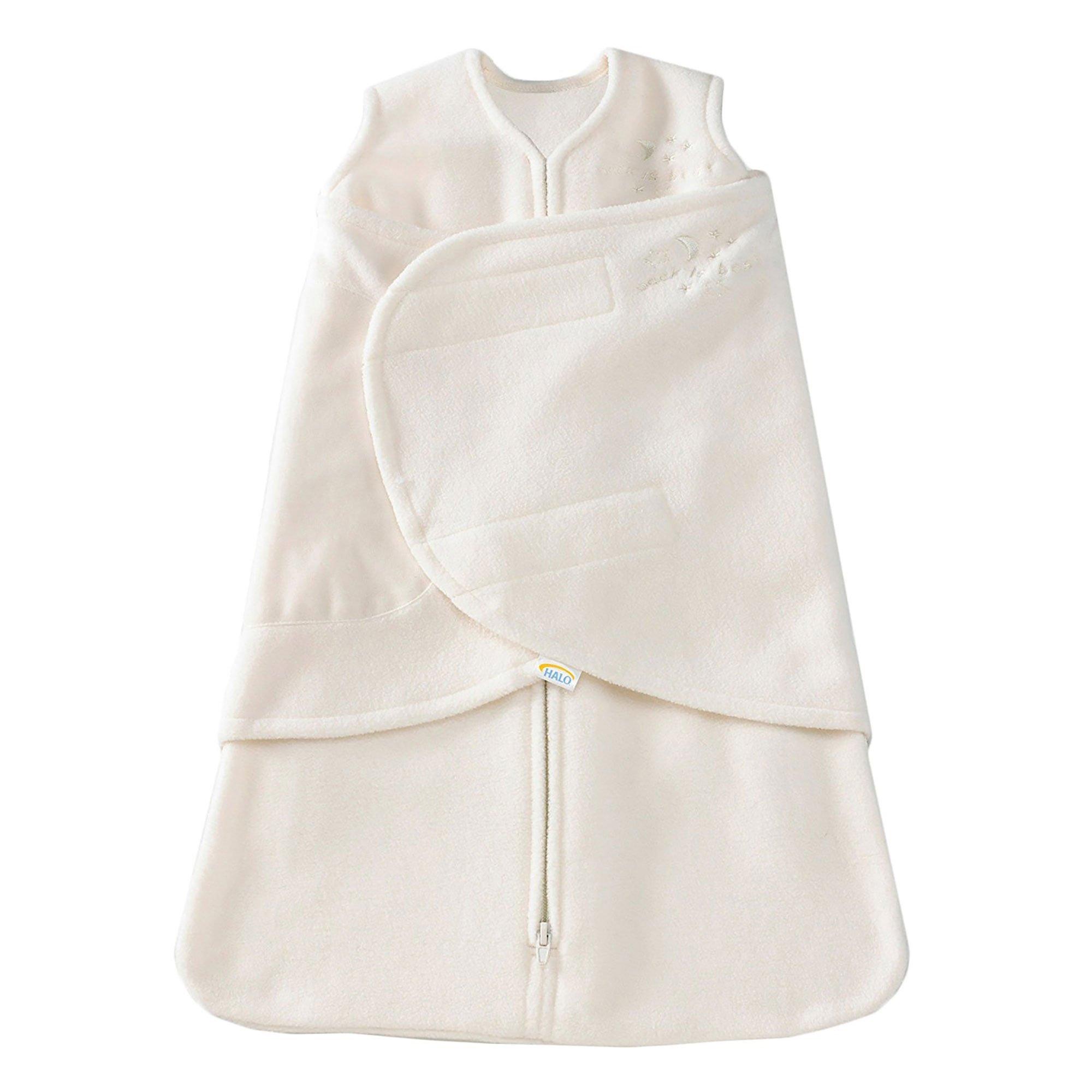 HALO SleepSack Micro-Fleece Swaddle, Cream, Small