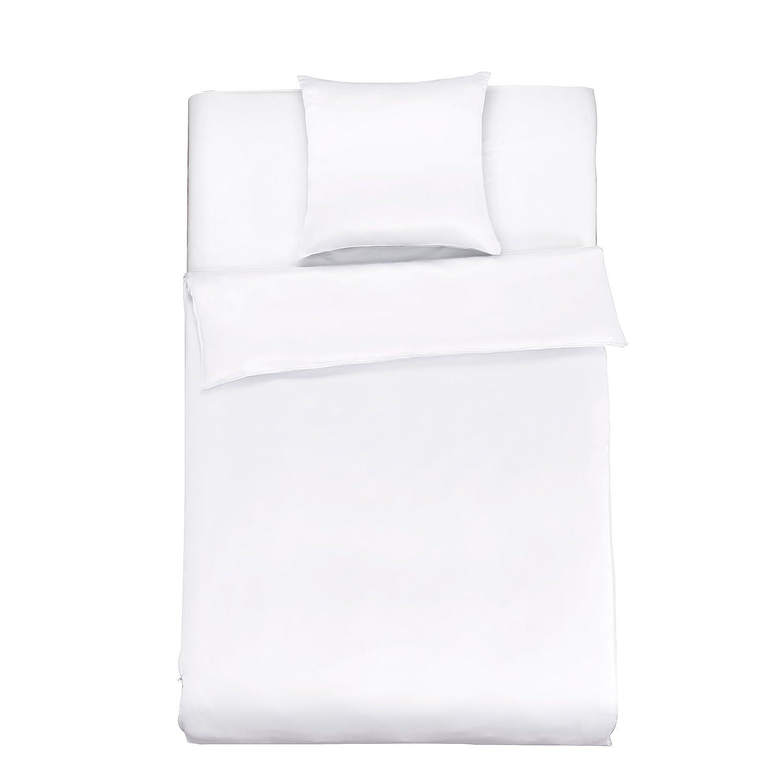 LilySilk Seide Bettwäsche-Set 2 teilig Bettbezug 155x220cm Kissenbezug 80x80cm Seide Unifarben 19 Momme-Weiß