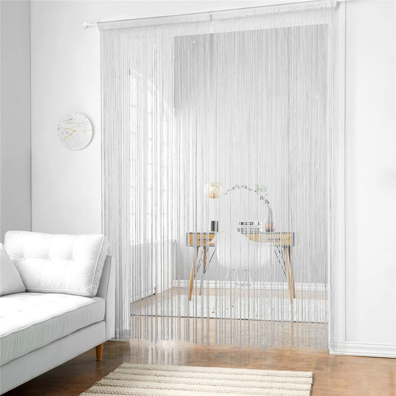 taiyuhomes clásica para espaguetis de cuerda de cortina de placa para Principal Decoración y–Panel con tiras decorativas de borlas de Bosquejo, tela, blanco, 90x240