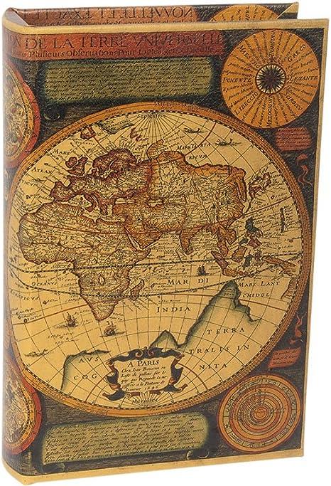 Trediser Libro Caja Fuerte con Llave - Modelo Mapamundi: Amazon.es: Hogar