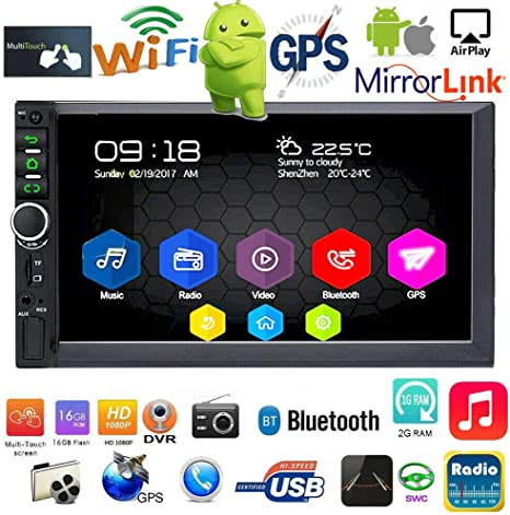 "Quad Core 16GB ROM Android 6.0 7/"" Double 2 DIN Car Radio Stereo BT 5.0 GPS Navi"