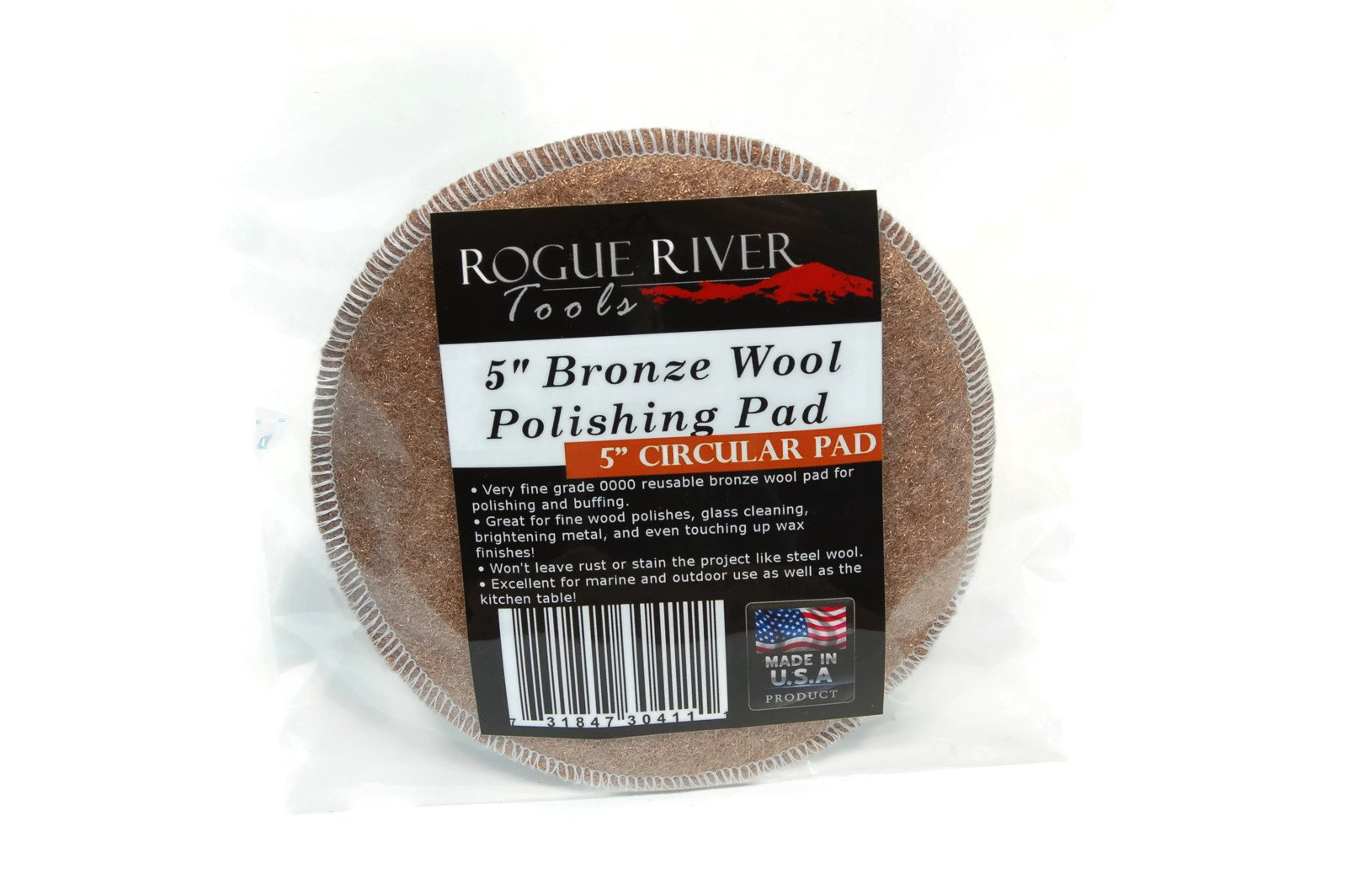 Rogue River Tools 5'' Bronze Wool Polishing Buffing Cleaning Pad (Single Pack) by Rogue River Tools