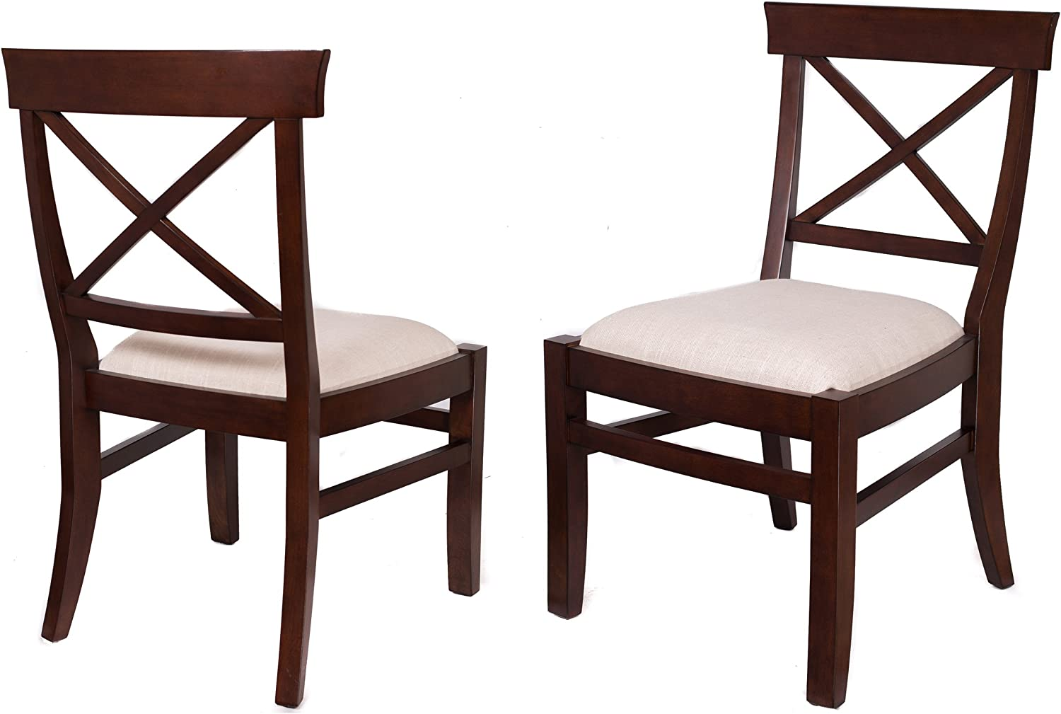 BIRDROCK HOME Crossback Side Chairs – 2pc – Delivered Fully Assembled Mahogany, Upholstered Side Chair