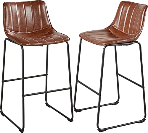 Yaheetech 30″ PU Leather Dining Chairs Armless Chairs Indoor/Outdoor Kitchen Dining Room Chair