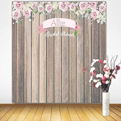mehofoto customized bridal shower backdrop 8x8ft poly cotton personalized rustic floral wood background custom size name