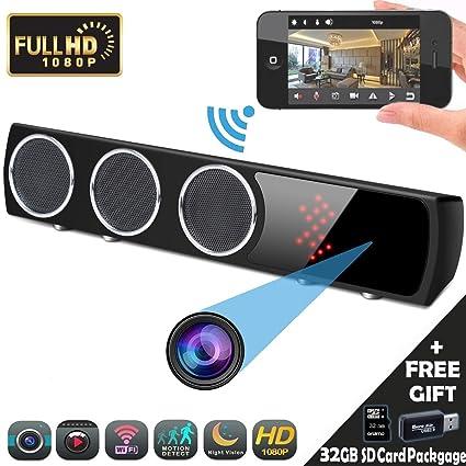 Camara Espia Oculta, Mini Spy CAM WiFi, YMStech HD Altavoz Bluetooth Video Vigilancia 1080P