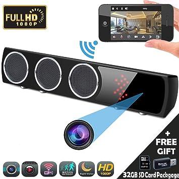 Camara Espia Oculta, Mini Spy CAM WiFi, YMStech HD Altavoz Bluetooth Video Vigilancia 1080P Grabador de Detección de Movimiento Seguridad del Hogar/Oficina ...