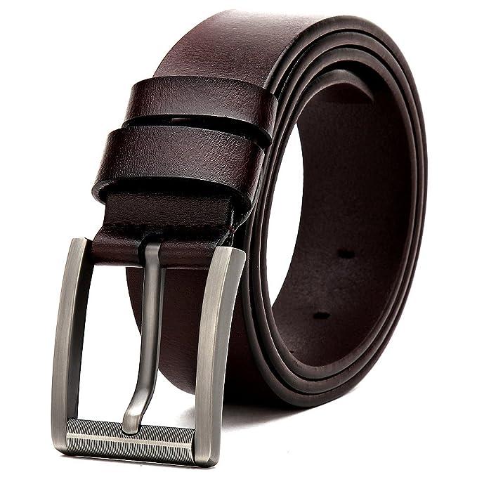 MUCO Cinturón De Cuero Negro Y Marrón Con Hebilla Plateada  Amazon.es  Ropa  y accesorios fe4cff92eae7