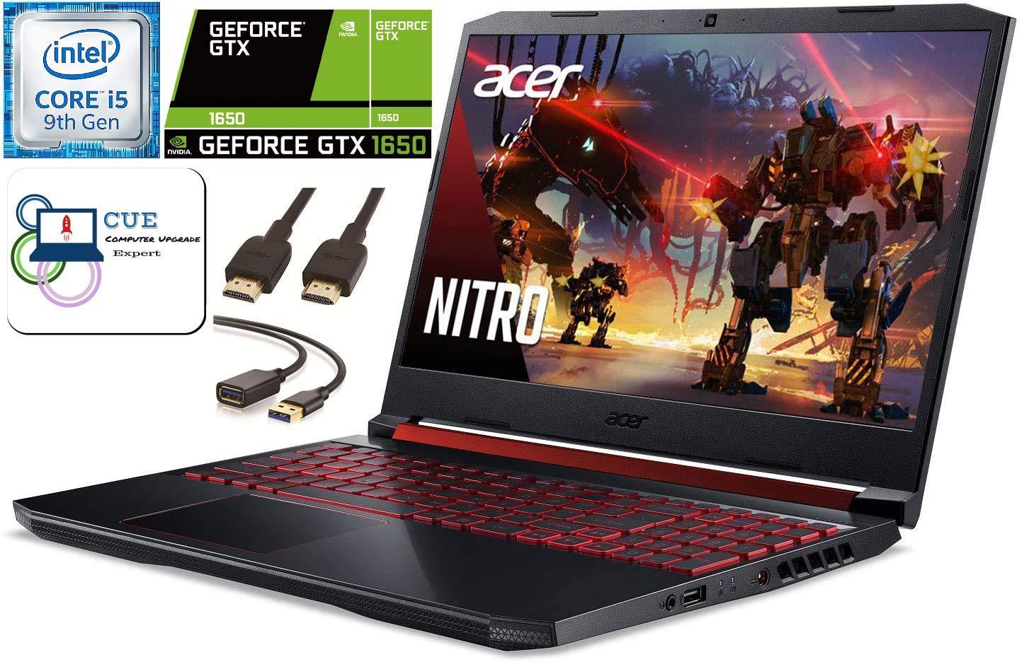 Acer Nitro 5 15.6 FHD Gaming Laptop, 9th Gen Intel Quad Core i5-9300H, 16GB DDR4 RAM, 256GB NVMe SSD, NVIDIA GeForce GTX 1650, Backlit Keyboard, WiFi 6, MaxxAudio, Windows 10 + CUE Accessories