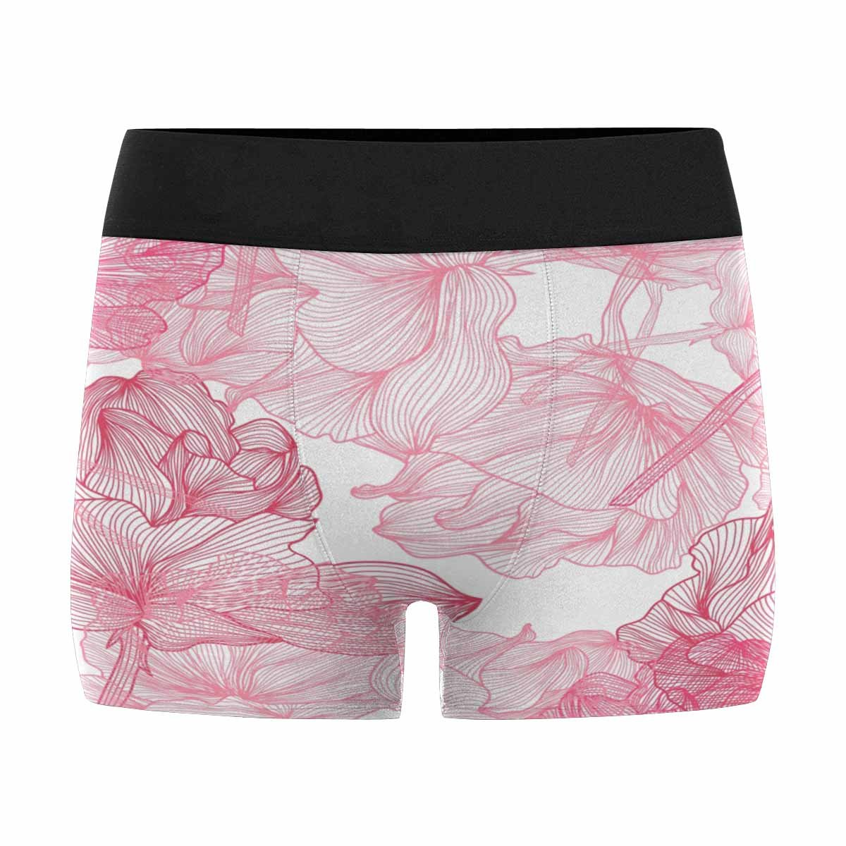 INTERESTPRINT Boxer Briefs Mens Underwear Elegant Pattern with Beautiful Pink Roses for Your Design XS-3XL