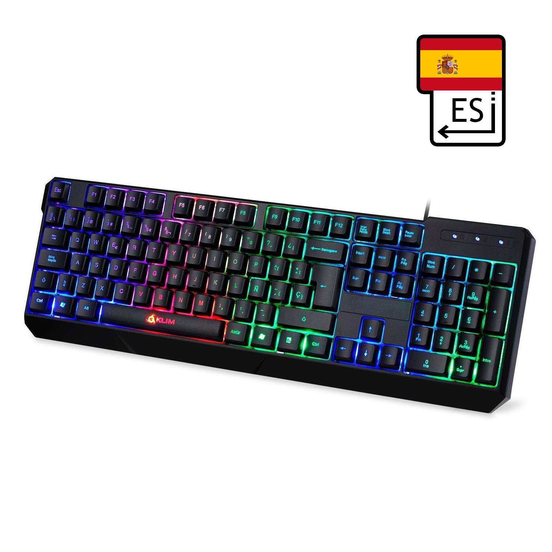 ⭐️KLIM Chroma - Teclado Gaming en ESPAÑOL - USB - Alto rendimiento - Teclado Retroiluminado