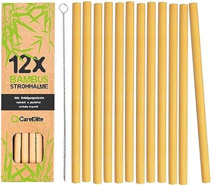 Paquete de 12 pajitas 100% de bambú, sin plástico, sostenibles, reutilizables y