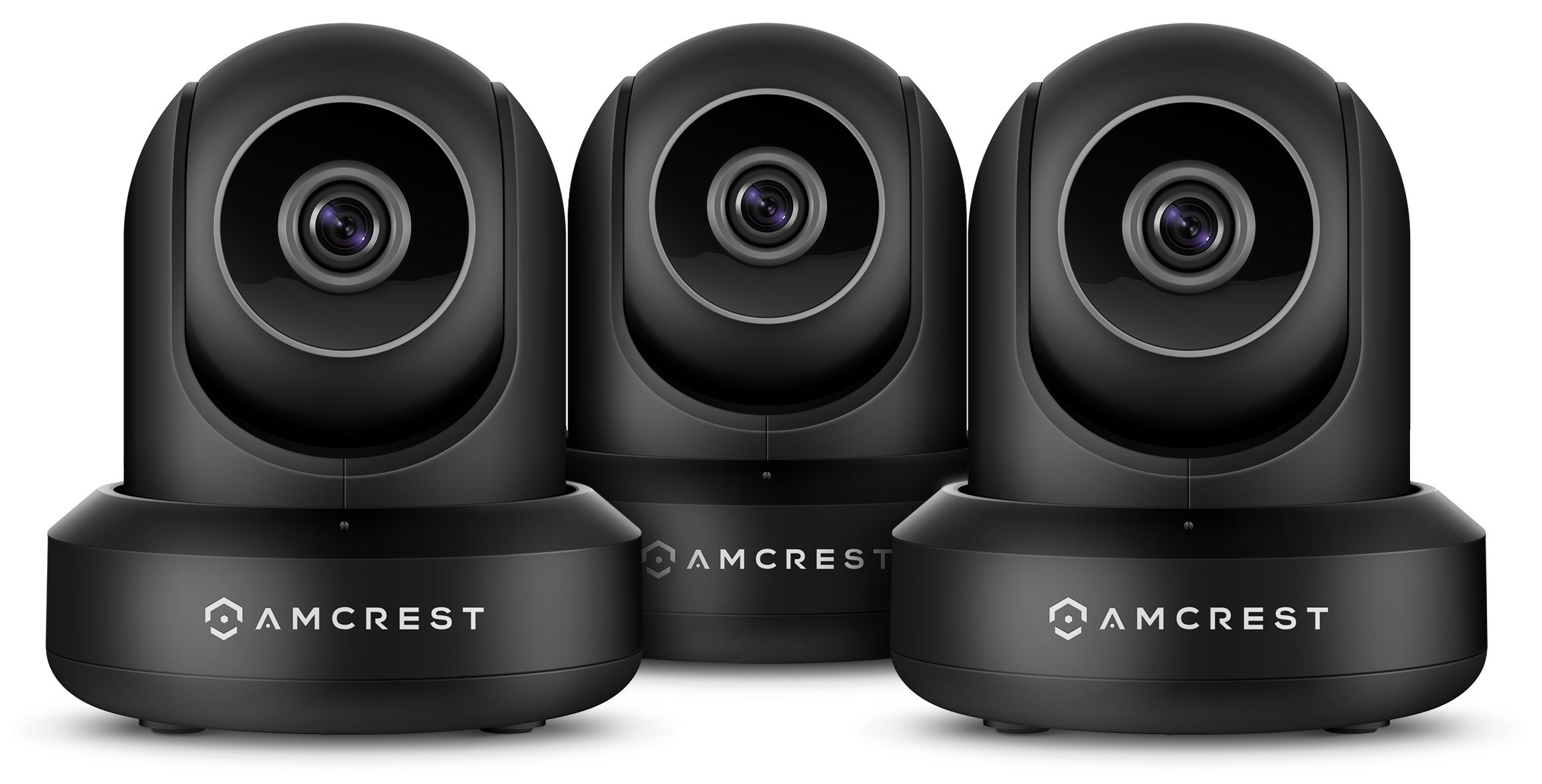 3-Pack Amcrest ProHD 1080P WiFi/Wireless IP SecurityCameraPan/Tilt, 2-Way Audio, Optional Cloud Recording, Full HD 1080P 2MP, Super Wide 90° Viewing Angle, Night Vision, IP2M-841 (Black)