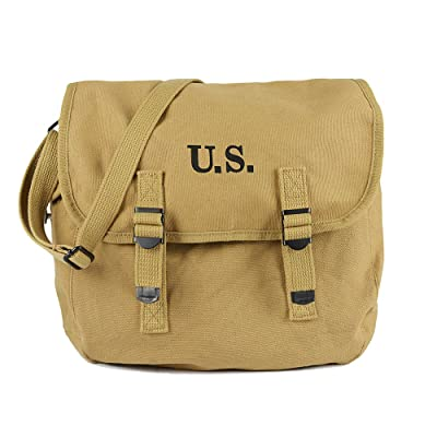 WW2 M1936 Musette Bag Backpack WWII US Army Style Haversack with Shoulder Strap Khaki Canvas