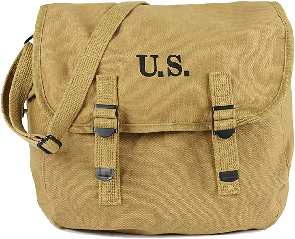 Oleader WW2 US M1936 Musette Bag Army Field Pack Canvas Backpack with Shoulder Strap, Khaki