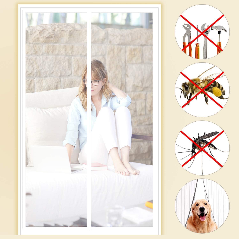 SODKK Mosquitera Puerta Fibra De Vidrio, Protección contra Insectos sin Taladrar Que Se Cierra AutomáTicamente para Puertas Correderas, 70x245cm Blanco