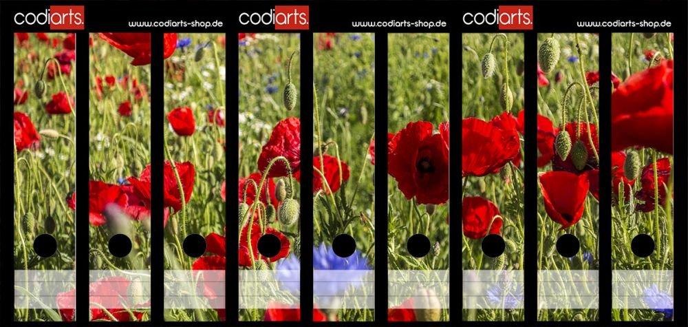 Set 9pezzi raccoglitori di etichette autoadesive raccoglitori Sticker Campo di papaveri rossi codiarts.