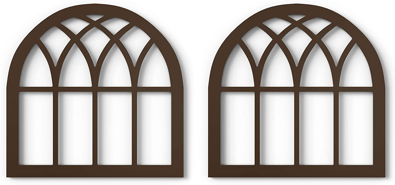 "Barnyard Designs Rustic Wood Cathedral Arch Window Frame, Decorative Arched Window Pane Wall Art, Vintage Farmhouse Country Decor, Dark Brown, 30"" x 30"", Set of 2"