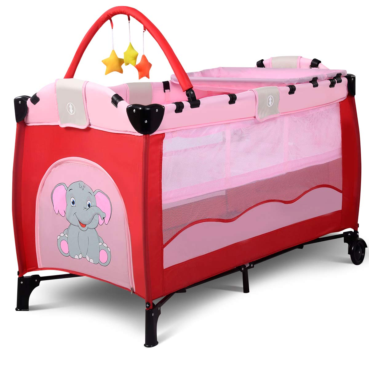 BABY JOY Baby Crib Foldable Playpen Portable Playard Pack Travel Infant Bassinet Bed with 2 Lockable Wheels Diaper Changing Table and Baby Toys (Pink)