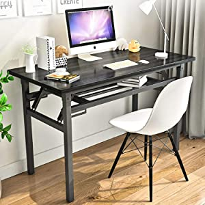 """Folding Table Small Computer Desk YJHome 31.5"""" X 15.75"""" X 29"""" Student Study Writing Desk Latop Foldable Desk Black Portable No Assembly Required Adjustable Legs for Small Spaces Home Office School"""