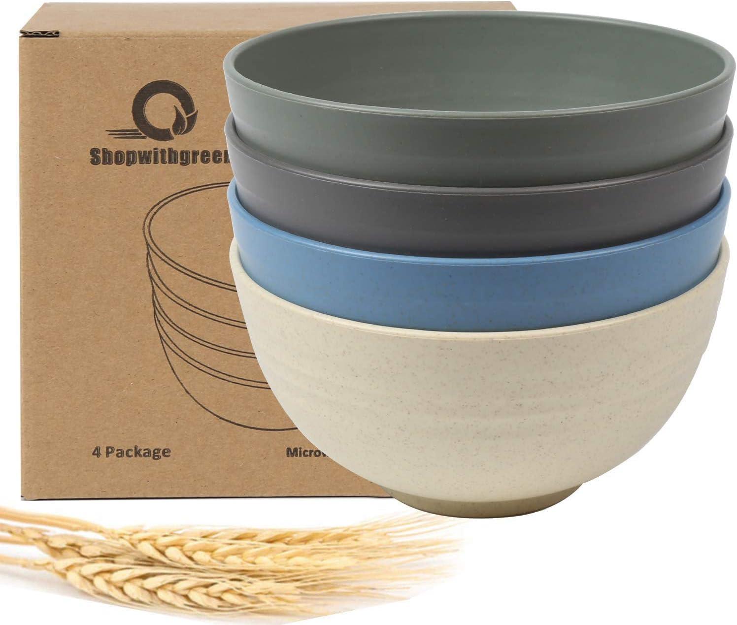 Shopwithgreen - Juego de 4 cuencos de cereales para niños, de fibra de paja de trigo, irrompibles, ligeros, aptos para lavavajillas y microondas, arroz, cuencos para sopa para niños