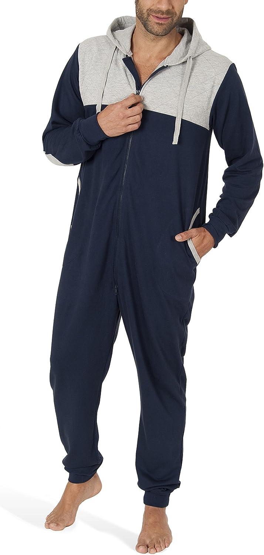 SLOUCHER tuta intera da uomo a maniche lunghe Tuta jumpsuit uomo in cotone monopezzo confortevole con cerniera e cappuccio
