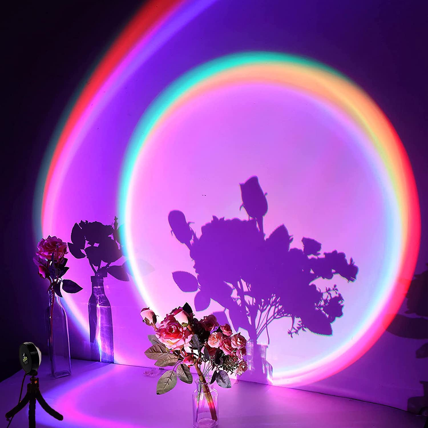 Sunset Projector, LED Rainbow Projection Light USB Sunset Lamp Projector Romantic Visual LED Light with 16 Colors Modern Floor Stand Night Light Decor for Home Party Living Room Bedroom