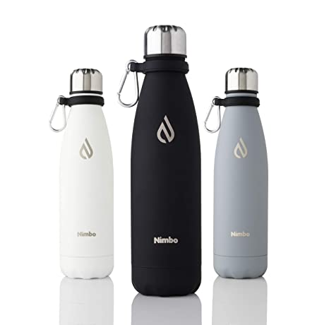 9e9adc497e Nimbo Insulated Water Bottle | 500ml | Stainless Steel | Reusable | Doubled  Walled BPA Free | Leak-Proof | Scratch Resistant Rubber Coating | Carabiner  ...