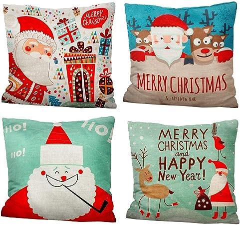 iMucci 4 Pack Santa Claus Pillow Case Funda de Conjunto De ...