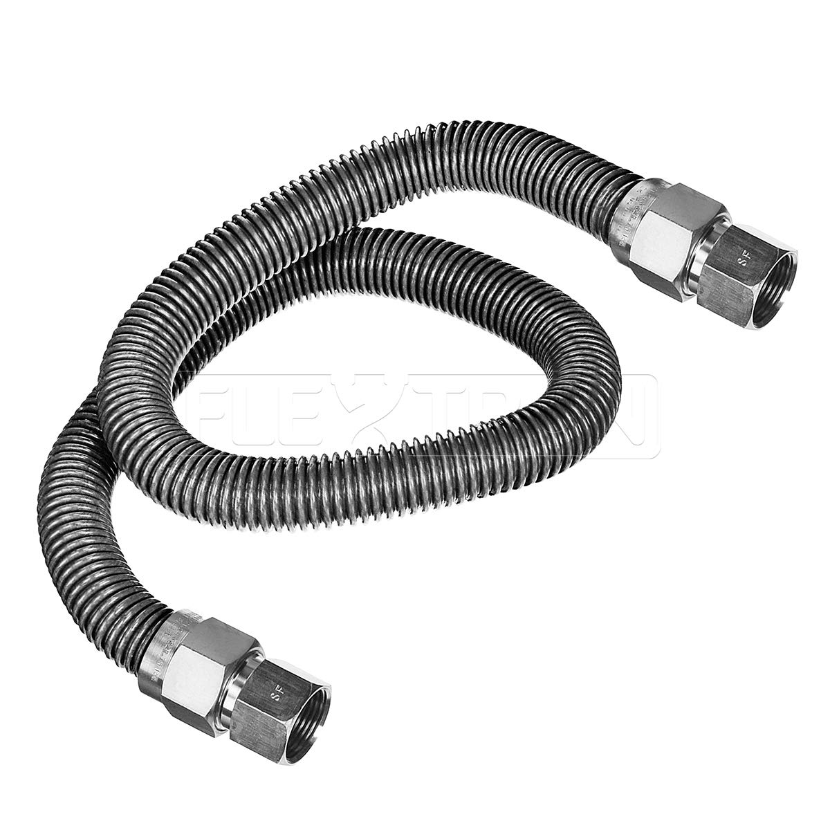 Flextron FTGC-SS14-36H 36 Inch Flexible Gas Line Connector with 3/8 Inch Outer Diameter & 3/8 Inch FIP x 3/8 Inch FIP Fittings, Uncoated Stainless Steel Space Heater Connectors, CSA Approved Everflow Supplies