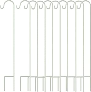 Gray Bunny 35 inch White, Set of 10 Solid (Non-Hollow) Single Piece (No Assembly), Strong Rust Resistant Premium Metal Hanger for Weddings Plant Baskets Solar Lights Lantern & Mason Jars