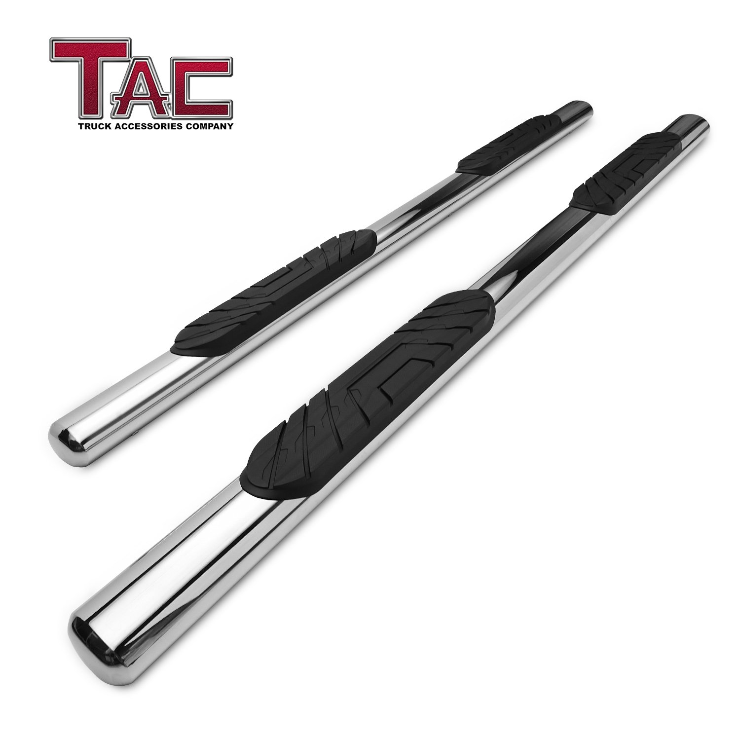 TAC Side Steps Fit 2019 Chevy Silverado/GMC Sierra 1500 Crew Cab Truck Pickup 4'' Oval Tube Stainless Steel Side Bars Nerf Bars Step Rails Running Boards Off Road Exterior Accessories (2 Pieces)