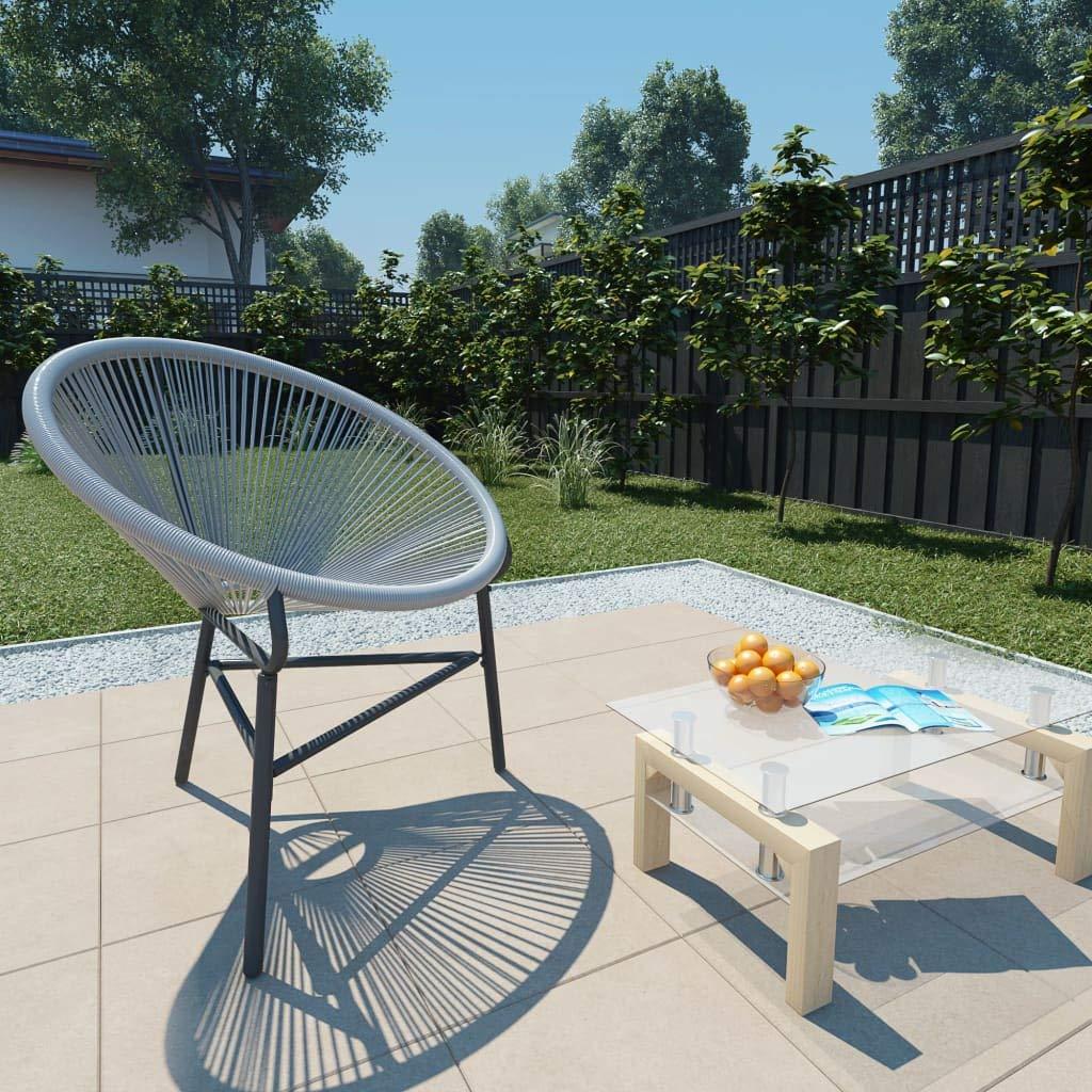 Outdoor Garden String Moon Rocking Chair Poly Rattan 72.5x77x90 cm Grey Patio