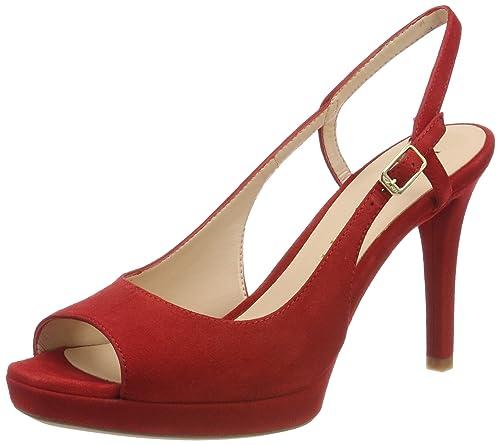 YE - zapatos de punta abierta Mujer , color Rojo, talla 40 EU