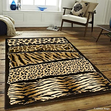 Amazon.com: 5\'2x7\'2 Orange Black Safari Leopard Print Area ...