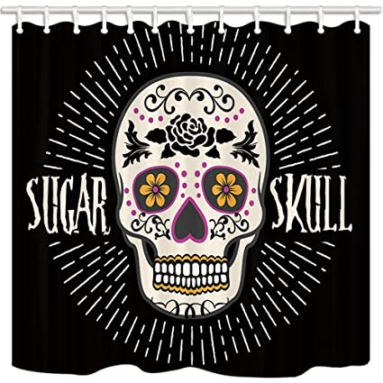 GoEoo Day Of The Dead Shower Curtain Sugar Skull Flower Decor National Customs Bathroom Mildew Resistant