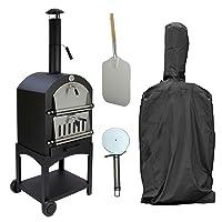 Pizzaofen groß schwarz Oven Garten Grill-Set ✔ Rollen ✔ rund ✔ rollbar ✔ stehend grillen ✔ Grillen mit Holzkohle ✔ mit Rädern