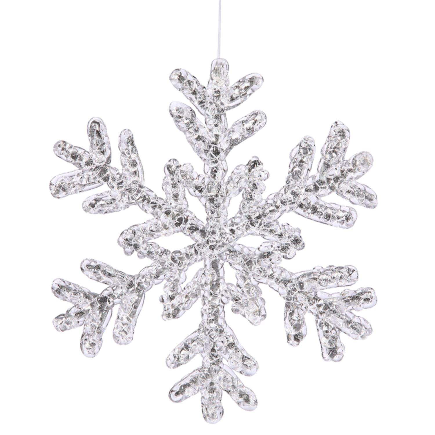 Christmas snowflake ornaments - Amazon Com 8 Large Icy Silver Glitter Snowflake Christmas Ornament Home Kitchen