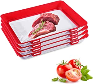 Food Preservation Trays- Stackable, Reusable Food Tray with Plastic Lid, Durable,Superior for Keeping Food Fresh,Dishwasher & Freezer Safe-4 Count (red, 30cm22cm3cm)