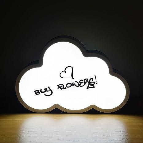Sentik® Pizarra luminosa con forma de nube y luz LED, objeto decorativo para escribir un mensaje personal