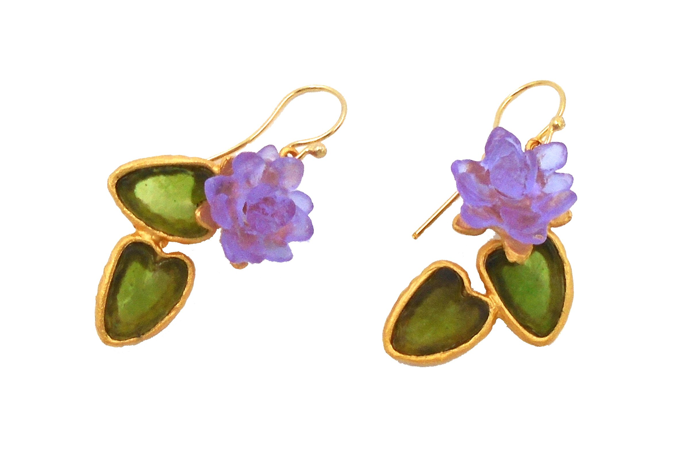 Michael Vincent Michaud- Glass ''Water lily Double Drop Hanging Earring''
