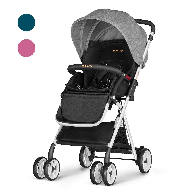 Besrey Baby Stroller Folding Pushchair Lightweight Infant Travel Buggy - Dark Green