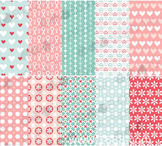 10 x A4 Sheets Pink /& Blue Patchwork Card Stock Free 1st Class Postage