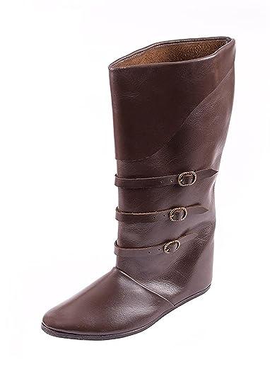 cb9dc74e1 Schnallenstiefel, lacets de style médiéval en cuir marron foncé ...
