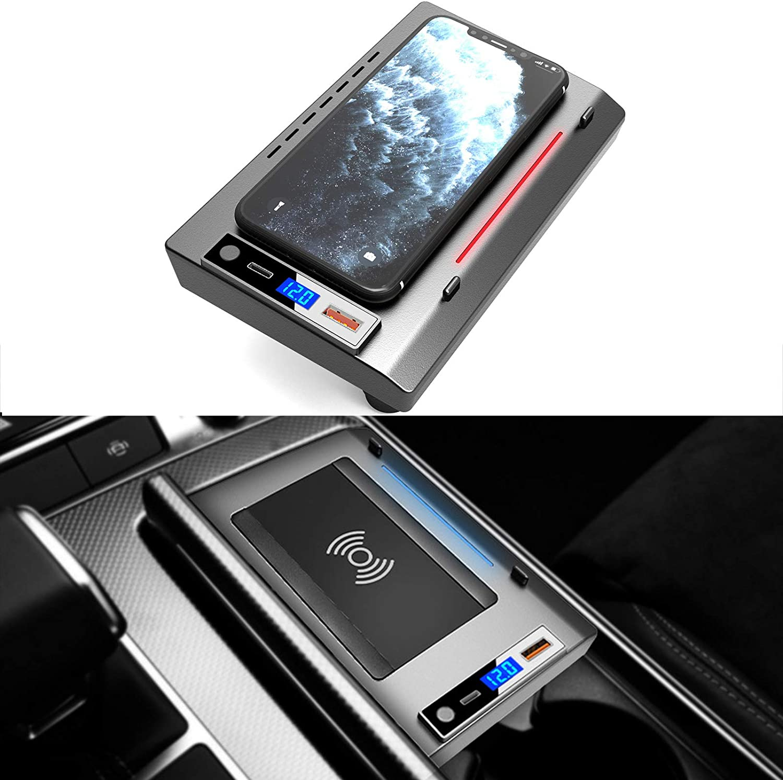 ZHANGYU Cargador de Coche inalámbrico para Audi A6 A7 2019 2020 2021, QI Wireless Smartphone Charging Pad 15W Carga rápida para iPhone 12/11 / XS/XR/X Samsung S20 / S10 / S9 / S8