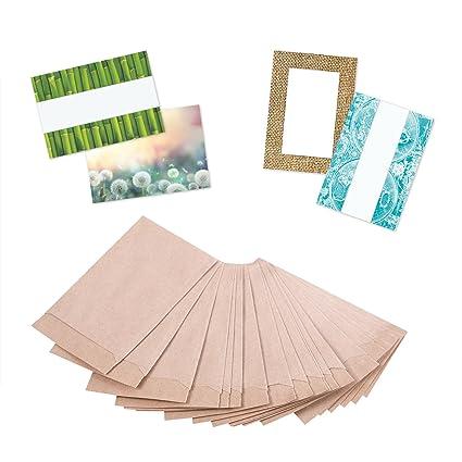 100 pieza Kleine Mini Bolsas de papel Bolsas papel kraft marrón 6,3 x 9,3 cm (+ 1,5 cm pestaña) con etiquetas de prueba. Del Paquete Regalos obsequios ...