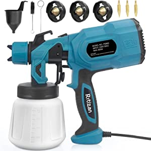 Rrtizan Paint Sprayer, 800W High Power HVLP Electric Spray Gun, 3 Copper Nozzle Kits & 3 Patterns, Easy Spraying and Cleaning, for Furniture, Fence, Car, Bicycle, Garden Chairs, Wall etc.