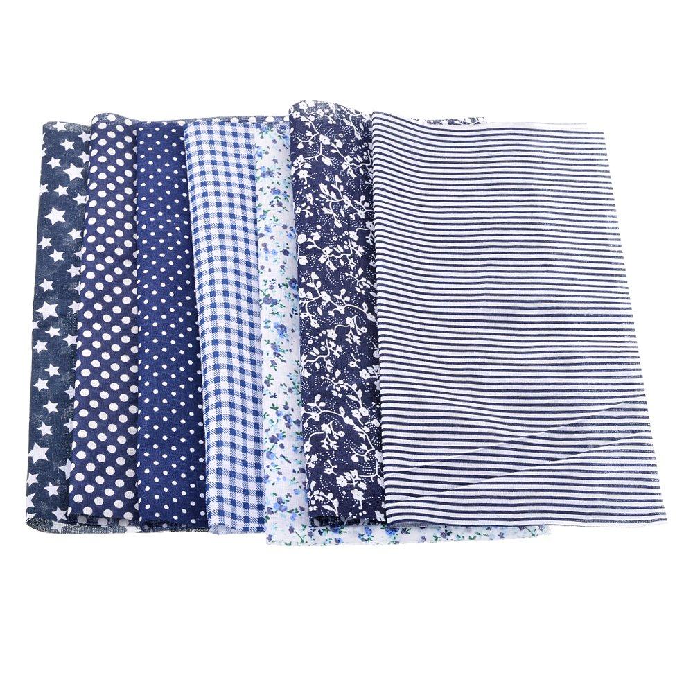 7pcs Tissu Carré Textile Artisanat Bundle Patchwork Coupon Écologique Bricolage Couture DIY Quilting Scrapbooking Bleu Marine 25 * 25CM Cysincos