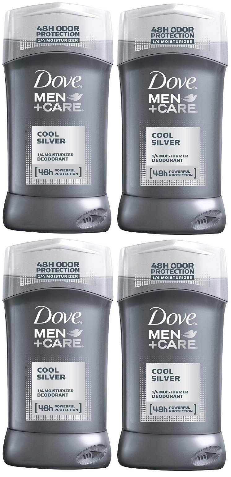 Dove Men+Care Cool Silver Deodorant, 3.0 Ounces (Pack of 4)
