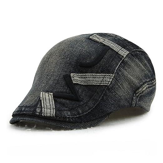 GADIEMKENSD Fashion Cap Men Camouflage AcrylicIvy Hat for Men Women Unisex  Summer Newsboy Caps Cabbie Hat Blue Washed Jeans Denim Irish Accessories  Cotton ... 172cadf4c503